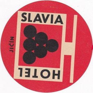 Czechoslovakia Jicin Hotel Slavia Vintage Luggage Label sk4415