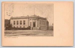 Waukegan Illinois~Public Library~Man Walking in Front~1907 B&W Postcard