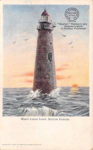 Boston Harbor MA~Minot Ledge Light~Beacon~Sunset Lighthouse~Rubber Shoes~1905
