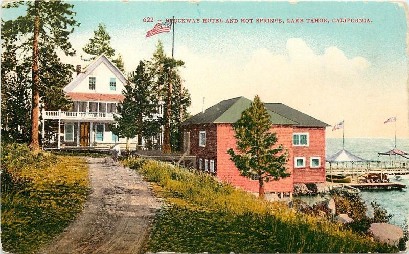 Tahoe Hot Springs >> C1907 Mitchell Postcard 622 Brockway Hotel Hot Springs