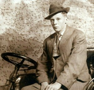 1909 Man Driving Auto RPPC Detroit MI Woodward Ave I.D. Jackson Photo Studio