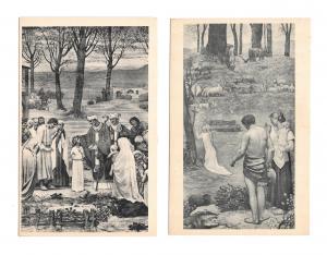 France Paris Le Pantheon Saint Germaine St Genevieve Two Vintage Art Postcards