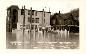 PA - Johnstown. March 18, 1936 Flood. Corner, Napoleon & Somerset St.   *RPPC