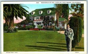 Hollywood, California Postcard Residence of SYD CHAPLIN Stars' Homes c1930s