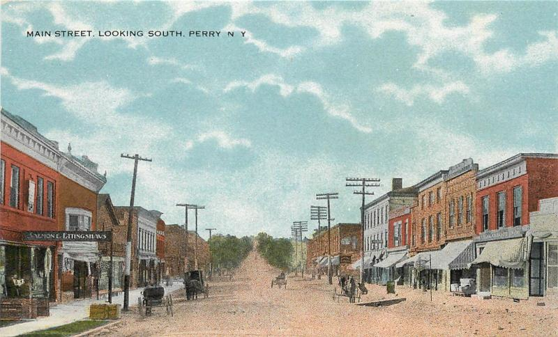 c1910 Postcard; Main Street Scene, Perry NY Wyoming County unposted