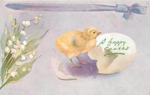 Easter~Chick Hatch Egg~Purple Ribbon~Lavender Back~Lily of Valley~TUCK M Morris