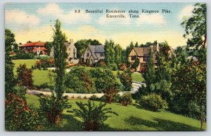 Knoxville Tennessee~Kingston Pike Mansions~Tudor Style~1946 Linen Postcard