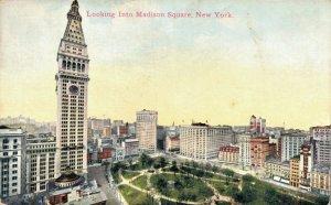 USA Looking Into Madison Square New York City Vintage Postcard 07.13