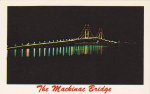 Night view of the Mackinac Bridge, Joining Michigan's Peninsulas, Michigan,40...