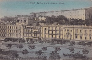 Oran La Pace De La Republic Et Hopital Algeria Antique Colour Postcard