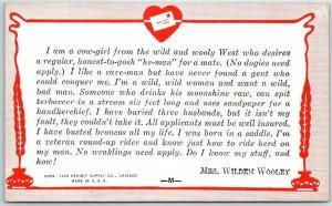 1938 Mutoscope / Exhibit Supply Arcade Card Comic Dating Ad MRS. WILDEN WOOLEY