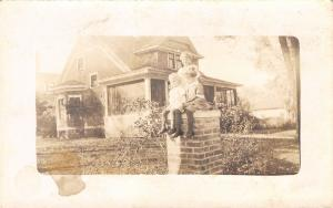 Real Photo Postcard~3 Little Children on Pillar in Front of House~Big Porch~1916