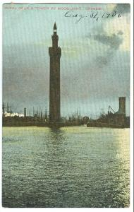 UK, Royal Dock & Tower by Moonlight, GRIMSBY, 1906 used Postcard