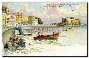 Postcard Old Napoli Via Partenope Cstel e dell Ovo