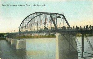 C-1910 Little Rock Arkansas Free Bridge Postcard Goodman 11661