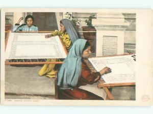 Pre-1907 NATIVE AMERICAN INDIAN WOMEN MAKING DRAWN WORK AC4237