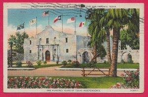 H-036- Alamo under Six Flags in San Antonio, TX Linen Picture Postcard