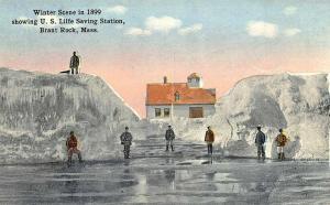Brant Rock MA 1899 Life Saving Station Crew Postcard