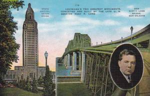 Louisiana New Orleans Huey P Long Bridge & Baton Rouge State Capitol Building