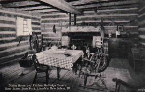 Illinois New Salem Dining Room and Kitchen Rutledge Tavern Curteich