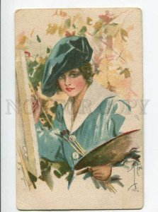 264903 Lady PAINTER Harrison FISHER old FINNISH No.30/25 RARE