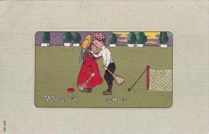 Lawn Tennis art postcard , Child couple , PU-1908
