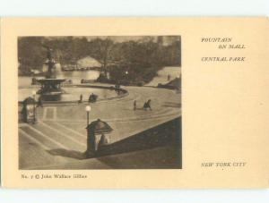 Unused Divided-Back FOUNTAIN ON MALL AT CENTRAL PARK New York City NY c8314