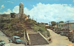 Iglesia De La Monserrate Puerto Rico Street View Old Cars Postcard