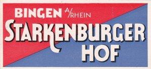 Germany Bingen am Rhein Starkenburger Hof Vintage Luggage Label sk3275