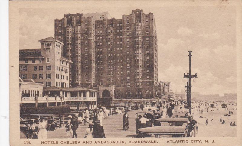 ATLANTIC CITY, New Jersey, 1900-1910´s; Hotels Chelsea And Ambassador, Board...