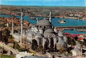 Turkey Istanbul The Mosque of Soliman the Magnificent Golden Horn Boats Schiff