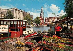 Netherlands Amsterdam Bloemenmarkt Singel Flowermarket Boat River Auto Cars