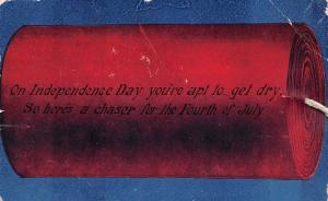 E16/ Patriotic Postcard Fourth of July 4th c1910 Firecracker Real String Wick 27