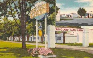 Woodland Park Motel US 10 Spokane Washington linen postcard