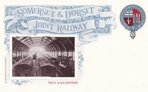 Somerset & Dorset Joint Railway Train To Bath Station Postcard