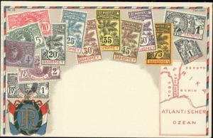 dahomey, Stamp Postcard, Coat of Arms, MAP (1910s) II