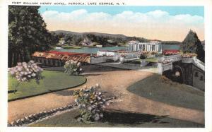 Lake George New York~Fort William Henry Hotel Pergola~Pink Flowering Bushes~'20s