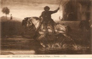 Decamps. Horses. Les Chevaux de Halage Fine painting, vintage French postcard