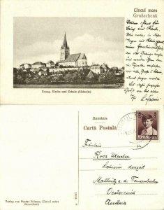 romania, CINCU GROßSCHENK, Evangelical Church and School (1929) Postcard