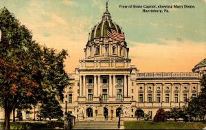 Pennsylvania Harrisburg State Capitol Showing Main Dome 1912 Curteich