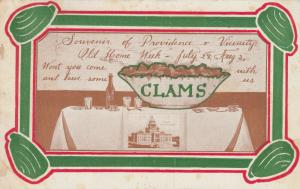 PROVIDENCE , Rhode Island , 1907 ; Old Home Week , Clams