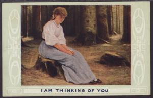 I Am Thinking of You,Woman Sitting on Tree Stump