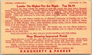 OMAHA Nebraska Advertising Postcard DAUGHERTY & PARKER Livestock Co 1934 Cancel