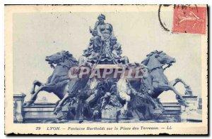 Old Postcard Fontaine Bartholdi Lyon on Place Bellecour