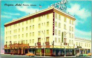Vintage PHOENIX Arizona Postcard ARIZONA HOTEL Street View c1950s Chrome Unused