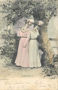 Austria Dornbirn cancel 1902 postcard glamour elegant ladies umbrella fashion