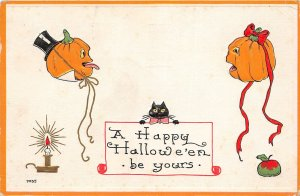 G70/ Halloween Postcard Holiday Greetings c1910 Jack-O-Lanterns Cat Candle 6