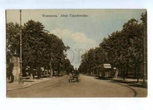 150540 POLAND Warsaw Ujazdowskie street TRAM Vintage postcard