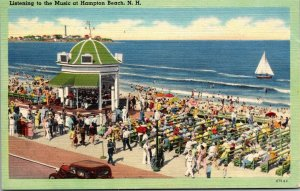 Postcard NH New Hampshire Hampton Beach Listening to Music Ocean Posted 1943