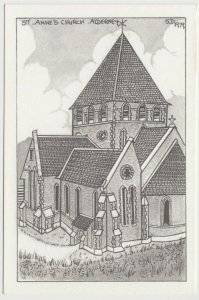 Alderney; St Annes Church, Artist Drawn By Sonya Dean, 1979 PPC, Unused